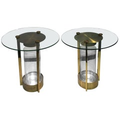 Pair of Dorothy Thorpe Modernist Art Deco Illumunated Brass Tables