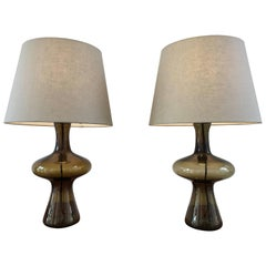 Pair of 1960s Vintage Green Danish Glass Lamps by Holmegaard