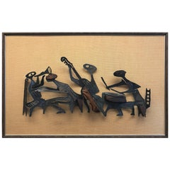 Midcentury Brutalist Metal Sculpture Wall Art on Frame