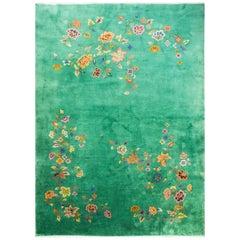 Art Deco Chinese Carpet, Amazing Green