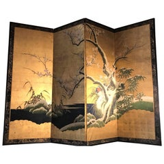 19th Century Four Panel Kano School Chinese Style Folding Screen or Room Divider