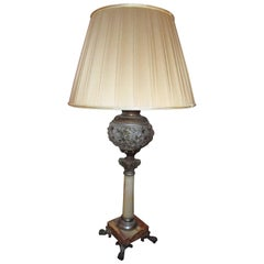 19th Century Onyx Marble and Reticulated Bronze Table Lamp