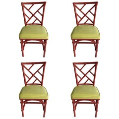 Set of Four Mid-Century Modern Chinese Chippendale DIA Bamboo Red Side Chairs