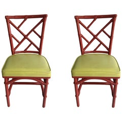Pair of Mid-Century Modern Chinese Chippendale DIA Bamboo Red Side Chairs