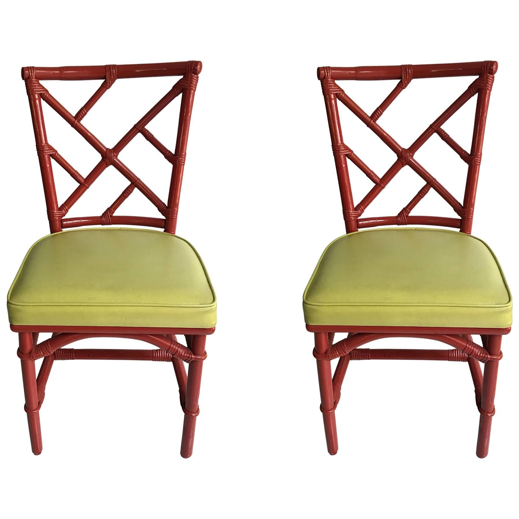 Pair Of Mid Century Modern Chinese Chippendale DIA Bamboo Red Side Chairs