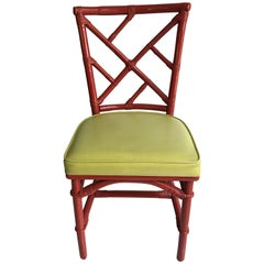 Mid-Century Modern Chinese Chippendale DIA Bamboo Red Side Chair