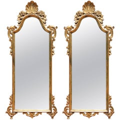 Pair of Italian Carved Giltwood Mirrors
