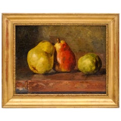 19th Century Still Life with Pears, Oil on Board, Unsigned