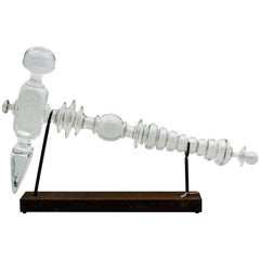 Extra Large Handblown Glass Hammer Sculpture with Steel Base