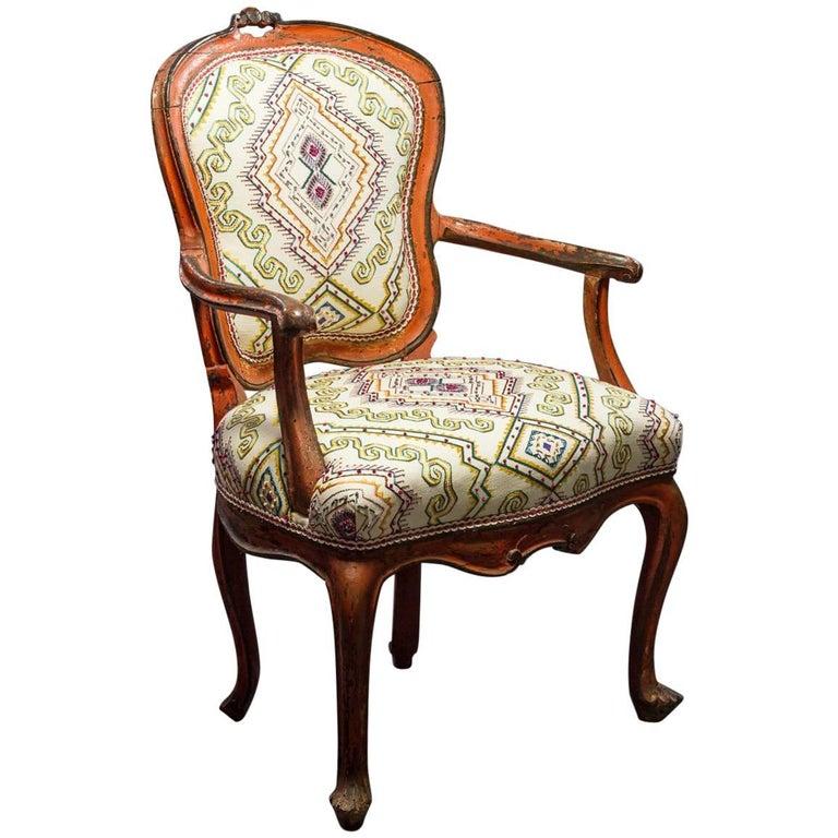 italian rococo painted fauteuil en cabriolet for sale - Cabriolet Fauteuil