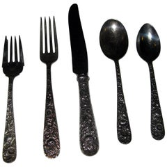Repousse by Kirk Sterling Silver Flatware 40-Piece Dinner Service for Eight