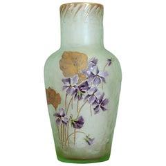 20th Century French Art Nouveau Legras Mont Joye Vase in Green Glass