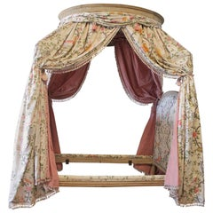 18th Century French Canopy Daybed with Toile Upholstery