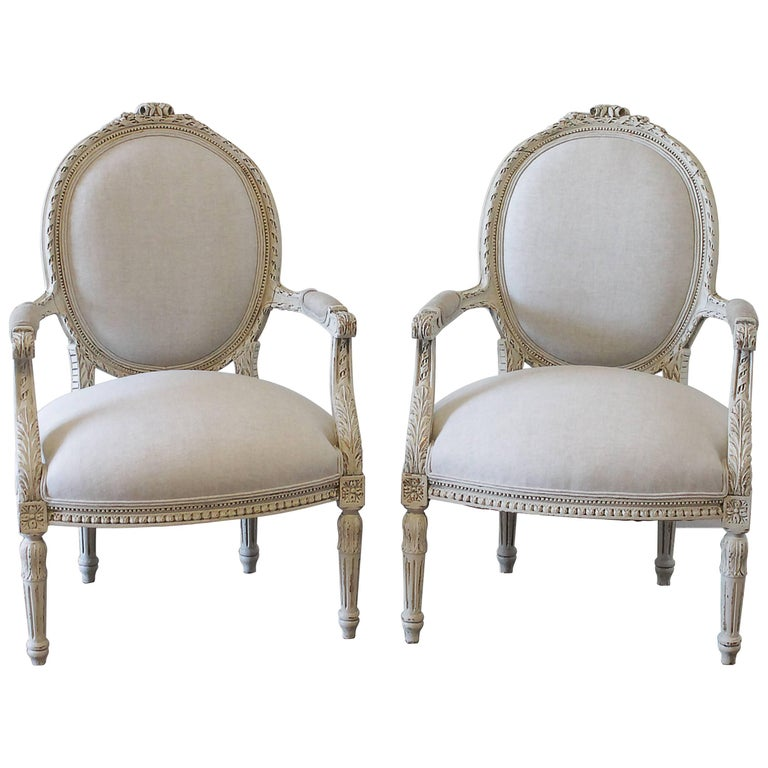 Pair of 20th Century Carved and Painted Louis XVI Style Armchairs in Linen