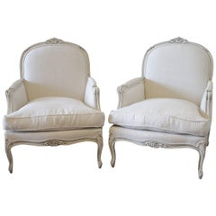Pair of Painted and Upholstered French Louis XV Style Bergère Chairs