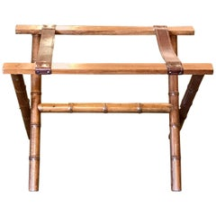 Jacques Adnet Style Faux Bamboo and Leather Luggage Rack