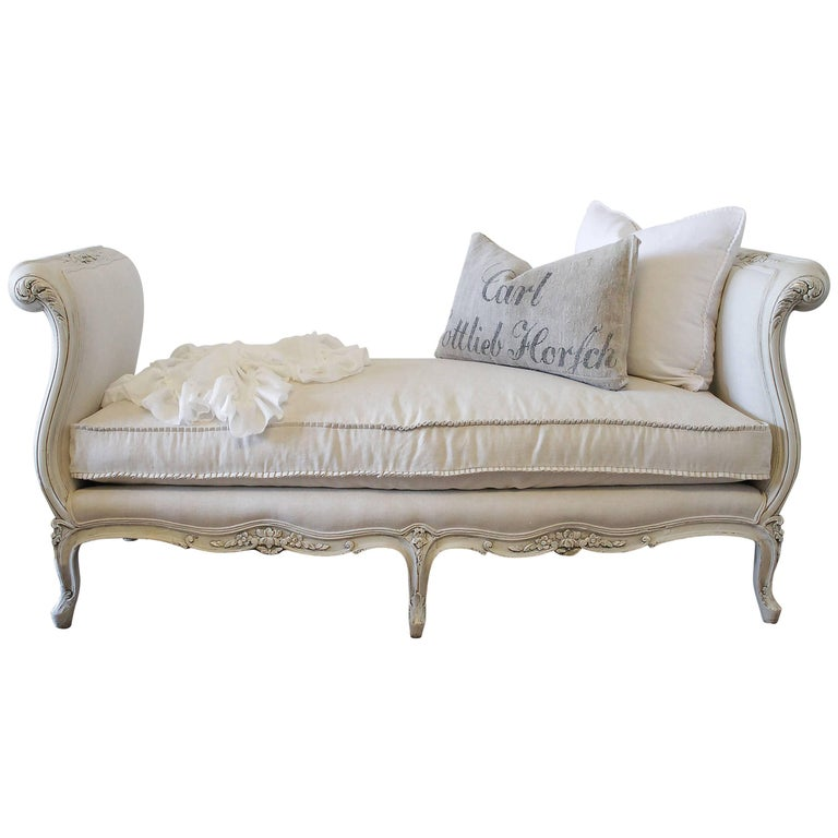 Vintage French Louis XV Style Bench Painted and Upholstered in Belgian Linen