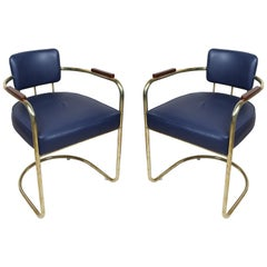Pair of Brass Captains Chairs with Navy Blue Cushions, Late 1900s