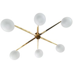Arredoluce Style Six-Arm Flush Mount Chandelier