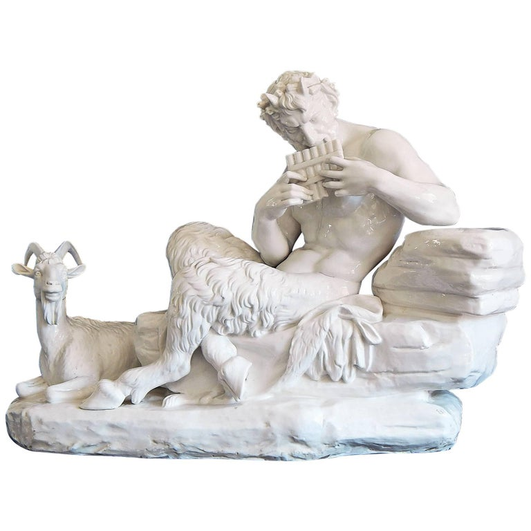 """""""Pan Playing His Pipes,"""" Large, Porcelain Masterpiece by Nymphenburg, 1912"""