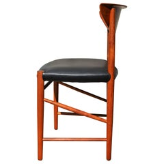 Peter Hvidt & Orla Mølgaard-Nielsen Teak Fold Back Desk Chair New Black Leather