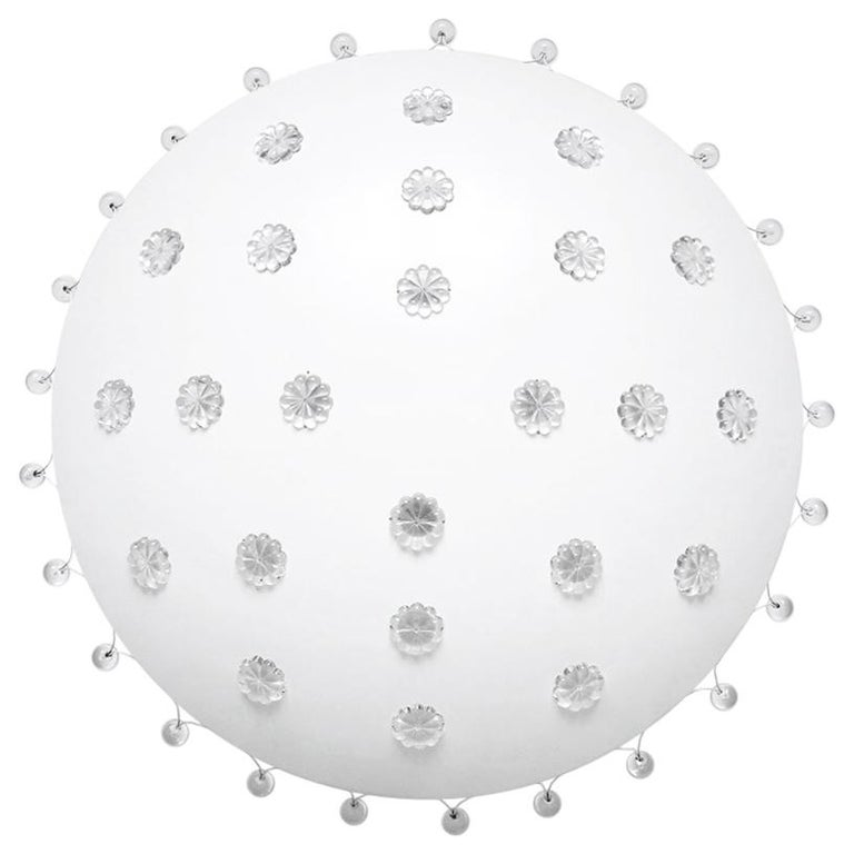 Beautiful Vintage White Lacquered Metal and Glass Chandelier Flush Mount, 1960s
