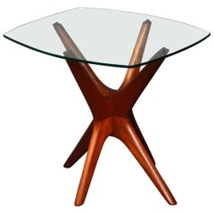Adrian Pearsall Solid Walnut Iconic Jacks Side Table Curved Glass Top
