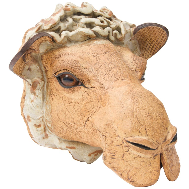 Artisan Earthenware Wall-Mount Camel Head For Sale at 1stdibs