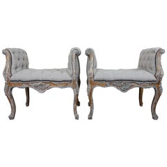 French Louis XV Style Painted and Parcel-Gilt Belgium Linen Benches, Pair