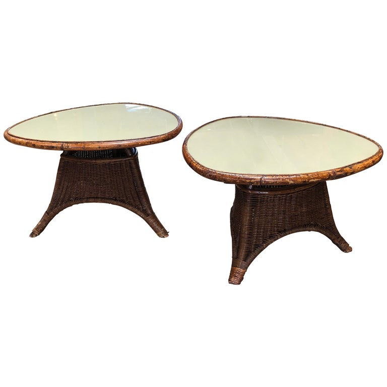 Pair of Italian Coffee Tables in Rattan and Glass, 1960s For Sale