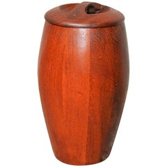 Jens Quistgaard Early 1950s Staved Teak Ice Bucket with Locking Lid