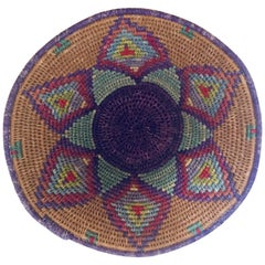 Native American Polychrome Seagrass and Silk Woven Basket