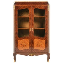 French Inlaid Rosewood and Marquetry Bookcase