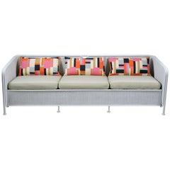 Mid-Century Modern Wicker and Tubular Metal Patio Three-Seat Sofa