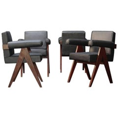 Committee Chairs with Black Leather by Pierre Jeanneret