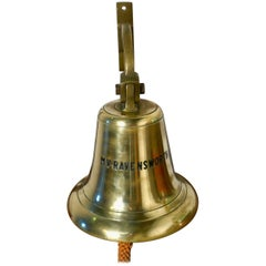 Large Bronze Ships Bell and Mounting Bracket from MV Ravensworth, 1960