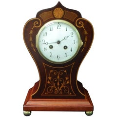 French Belle Époque Mahogany Inlaid Mantel Clock