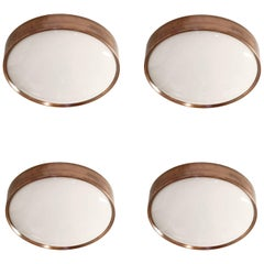 Set of Four Flush Mount Ceiling Lights by Falkenbergs, Sweden, 1970s