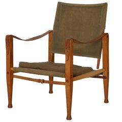 Kaare Klint Safari Chair in Canvas, Made by Rud Rasmussen, Denmark, 1960s