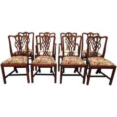 Set of Eight Chippendale Style Dining Chairs by Hickory Chair