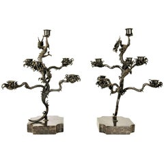 Pair of Japanese Patinated Bronze Candelabras, 18th Century