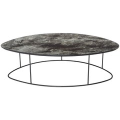 Ochre Moon Pebble Coffee Table, Mercury Glass and Steel, Excellent Condition