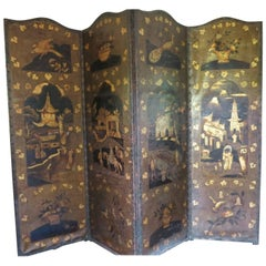 Antique Leather Screen Embossed Gilded, 19th Century