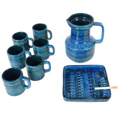 Aldo Londi, Bitossi Ceramics, Set of Eight Rimini Blue, Square Ashtray, Italy
