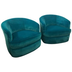 Vintage Pair of Milo Baughman Blue Velvet Swivel Chairs Walnut Wood Base