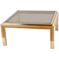 Romeo Rega, Square Coffee Table in Brass and Chrome, Smoked Glass, Italy, 1970s