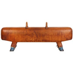 Vintage Gymnastic Leather Pommel Horse Bench, 1930s, Restored