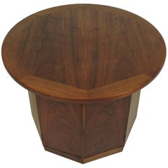 Mid-Century Modern Wormley Style Walnut Hexagonal End Table Cabinet
