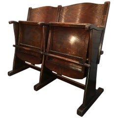 Vintage Cinema Bench, Two-Seat, 1950s