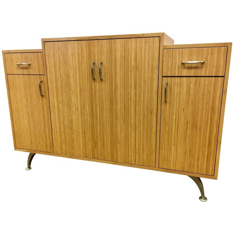 Danish Modern Bamboo Custom Server Bar Credenza Cabinet Sideboard Buffet